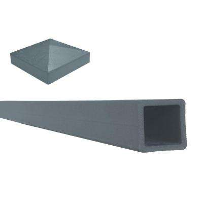 Seclusions 5 in. x 5 in. x 8 ft. Winchester Grey Wood-Plastic Composite Fence Post with Crown Post Cap