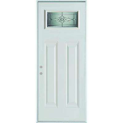 32 in. x 80 in. Victoria Classic Zinc Rectangular Lite 2-Panel Painted White Right-Hand Inswing Steel Prehung Front Door