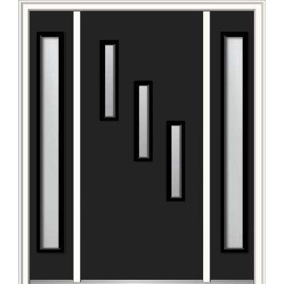 60 in. x 80 in. Davina Left-Hand Inswing 3-Lite Frosted Modern Painted Steel Prehung Front Door with Sidelites