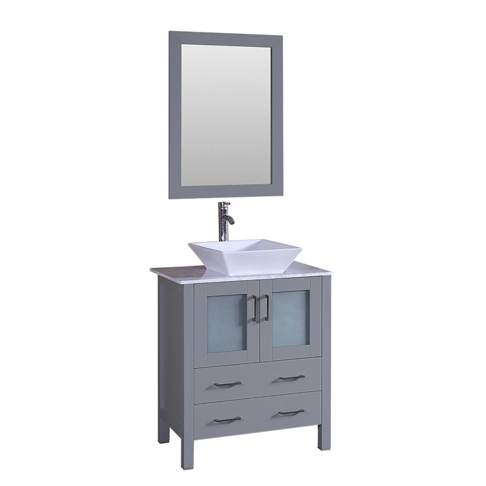 Bosconi 30 in. W Single Bath Vanity with Carrara Marble Vanity Top in Gray with White Basin and Mirror