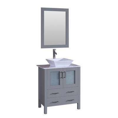 30 in. W Single Bath Vanity with Carrara Marble Vanity Top in Gray with White Basin, Polished Chrome Faucet and Mirror