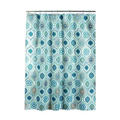 Diamond Weave Textured 70 in. W x 72 in. L Shower Curtain with Metal Roller Rings in OlinaSpa