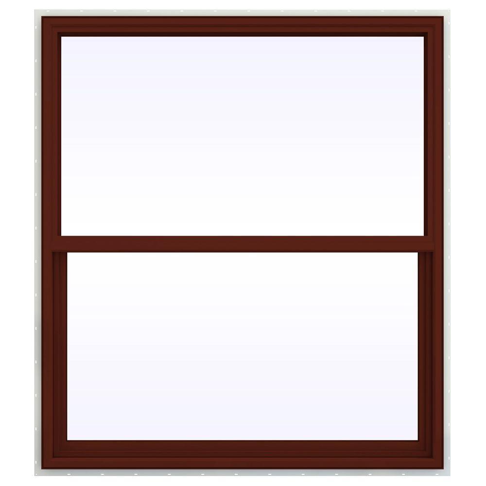 JELD-WEN 47.5 in. x 59.5 in. V-4500 Series Single Hung Vinyl Window - Red