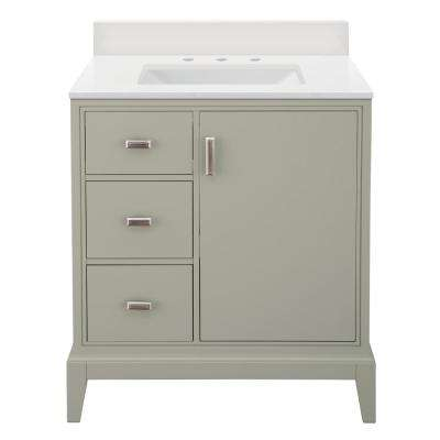 Shaelyn 31 in. W x 22 in. Vanity in Sage Green LH with Engineered Marble Vanity Top in Winter White with White Sink