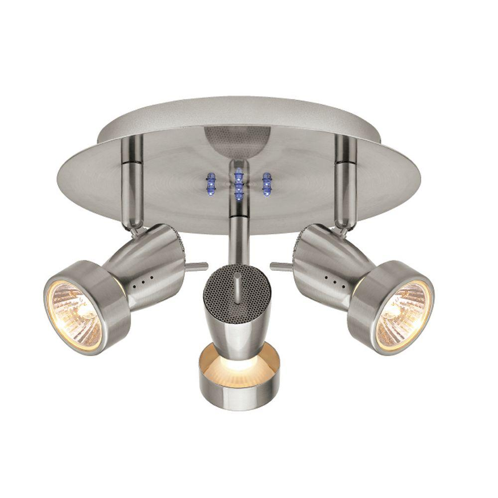 Hampton Bay Ceiling Light Fixtures: Hampton Bay 3-Light Brushed Nickel Semi-Flush Mount