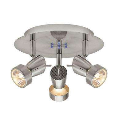 3-Light Brushed Nickel Semi-Flush Mount Directional Light Fixture