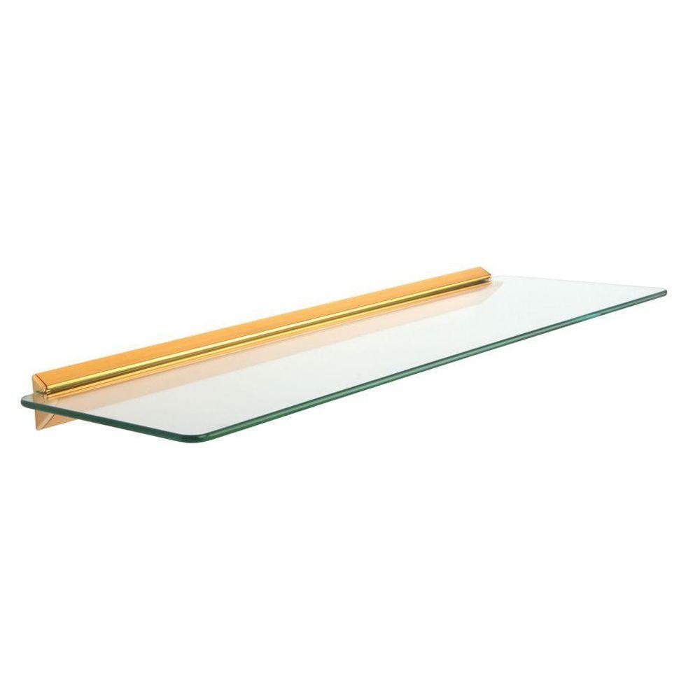 Knape & Vogt 8 in. x 24 in. Brass Glass Decorative Shelf Kit-89 BR ...