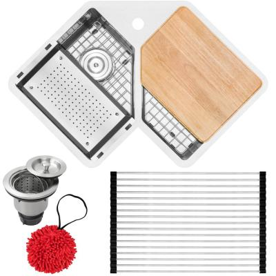 Bradford Corner Undermount 16-Gauge Stainless Steel 33 in. 1-Hole Double Basin Kitchen Sink with Accessory Kit