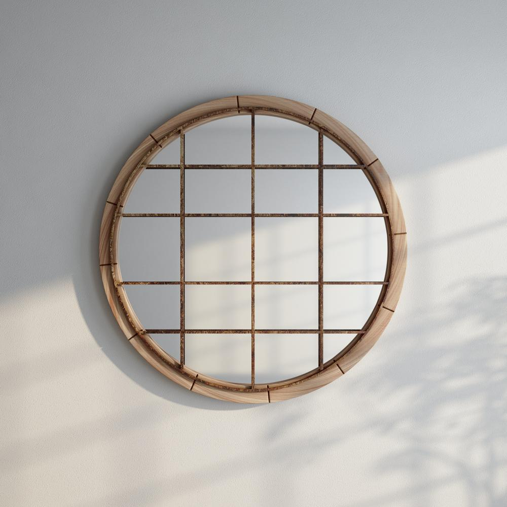 48 in. Round Reclaimed Wood Wall Mirror w/ Black Iron Grill