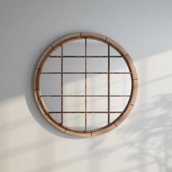 Round Reclaimed Wood Wall Mirror W Black Iron Grill
