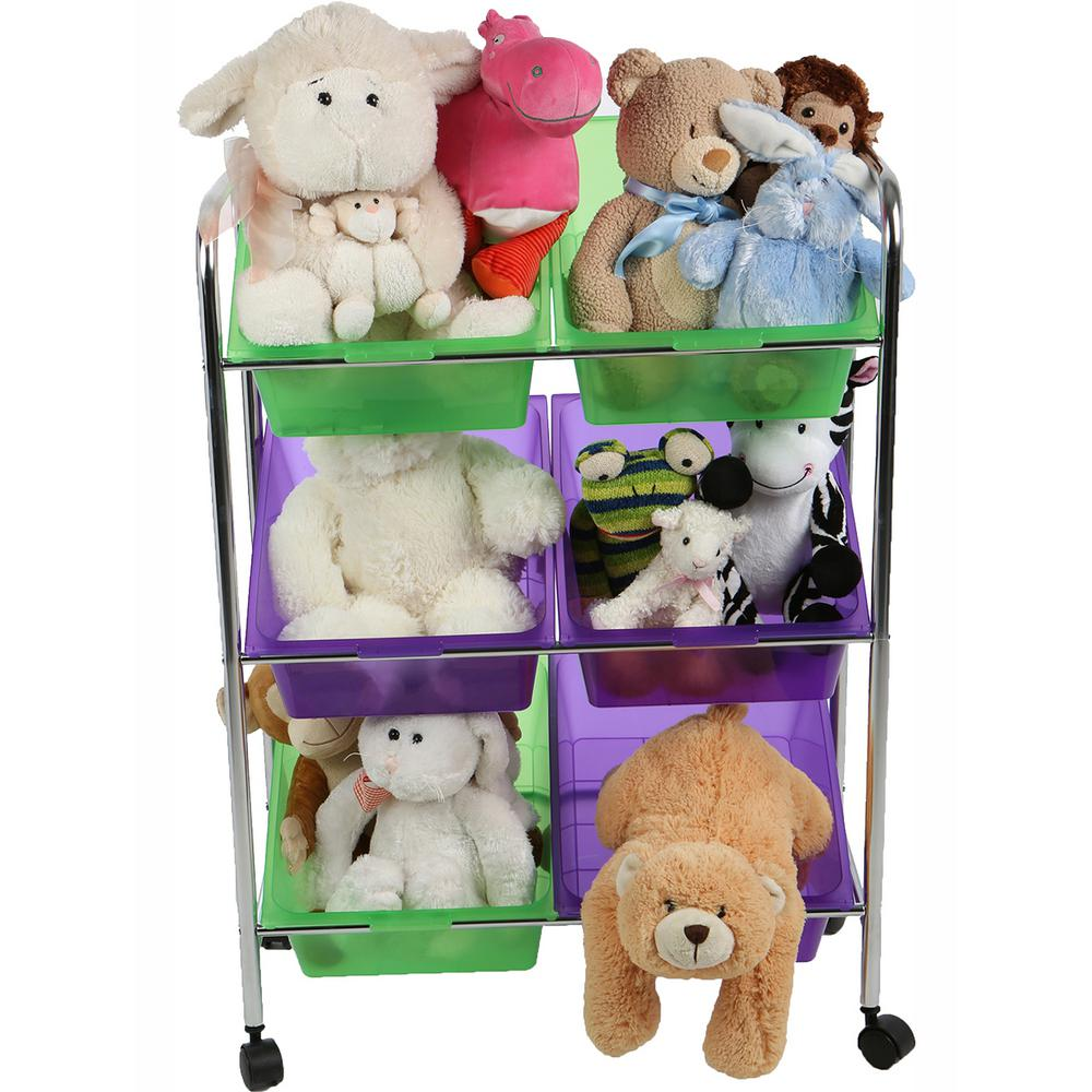 3-Tier Mobile Toy Storage Organizer with Multi-Color 6-Plastic Bins