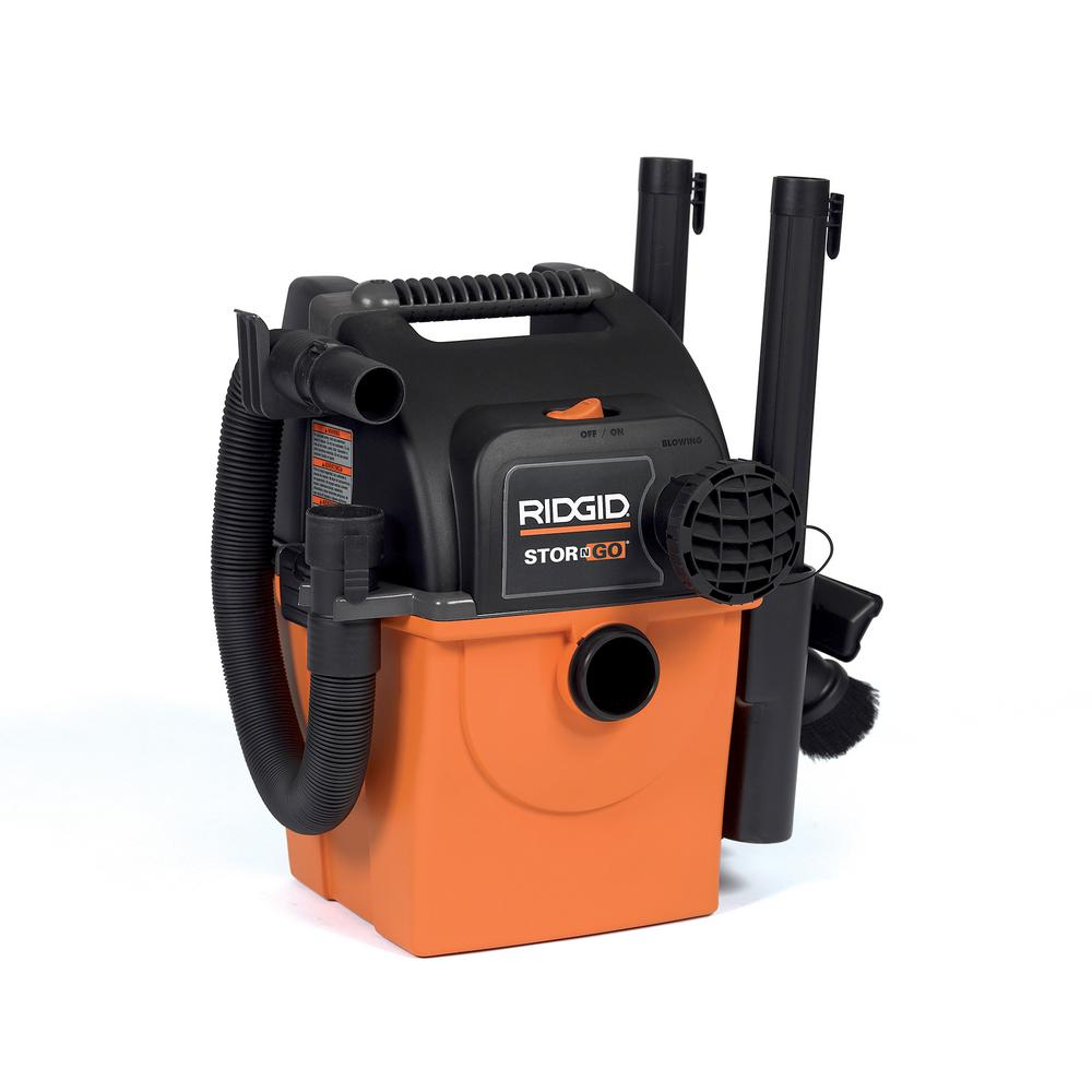 RIDGID 5 Gal. 5.0-Peak HP Portable Wall-Mountable Wet/Dry Shop Vacuum with Filter, Hose and Accessories