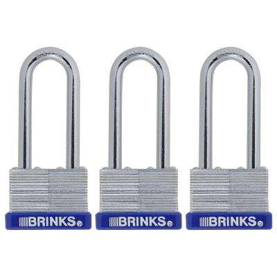 1-13/16 in. (45 mm) Laminated Steel Padlock with 2-3/8 in. Shackle (3-Pack)
