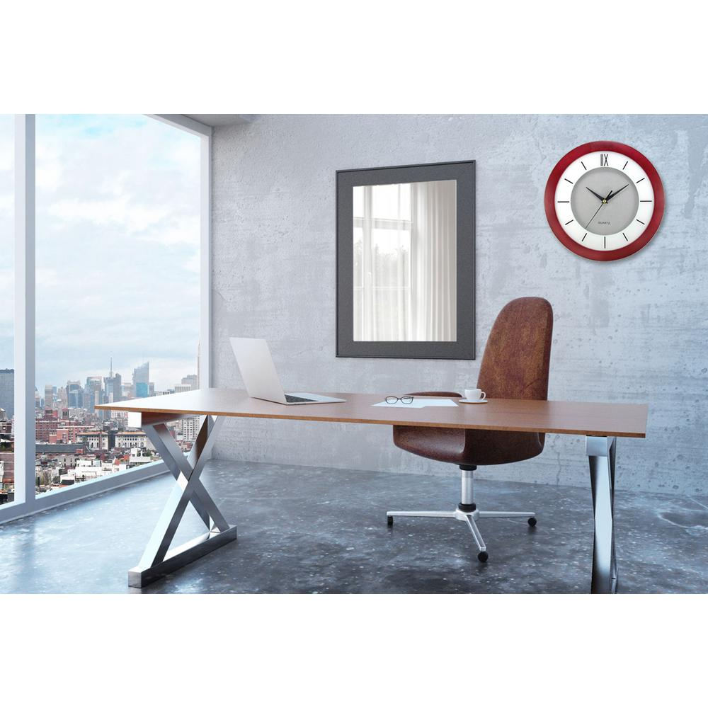 11 in. Round Cherry Wood Frame, White Screening, Silver Dial Wall