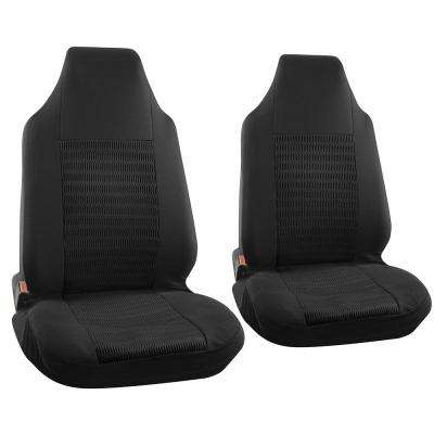 Polyester Seat Covers Set 26 in. L x 21 in. W x 48 in. H 2-Piece Seat Cover Set Wide Stripe Solid Black