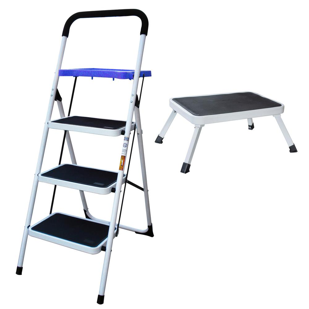 Amazing Amerihome 3 Step Metal Folding Utility Ladder With 1 Step Folding Mini Step Stool Gmtry Best Dining Table And Chair Ideas Images Gmtryco