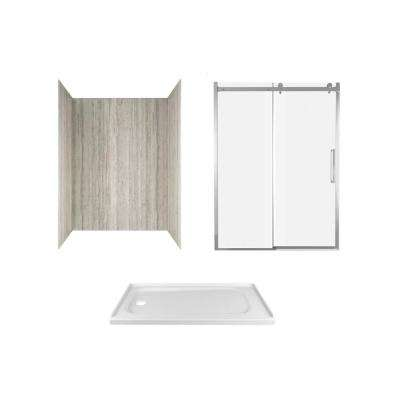 Passage 60 in. x 72 in. Left Drain Alcove Shower Kit in Pewter Travertine and Chrome Hardware