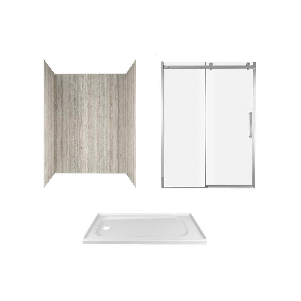 Passage 60 in. x 72 in. 3-Piece Glue-Up Alcove Shower Wall, Door and Base Kit with Left Drain in Pewter Travertine