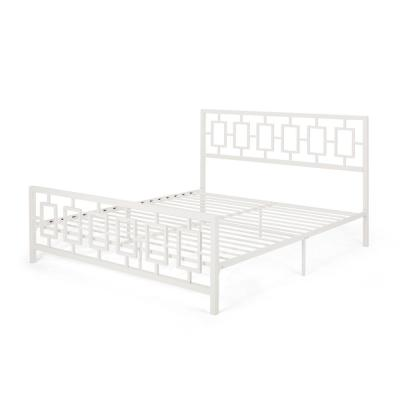 Claudia  White Metal King Bed Frame