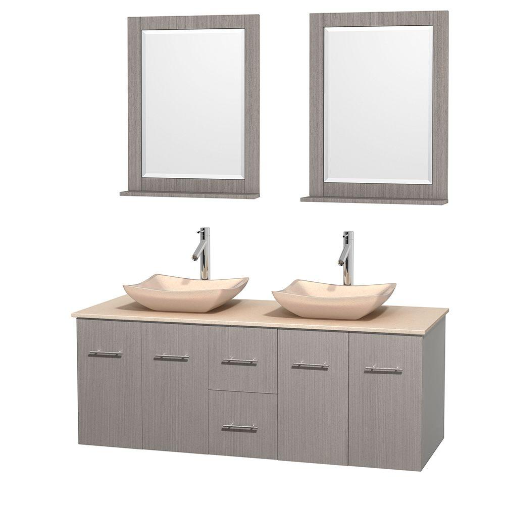 Wyndham Collection Centra 60 in. Double Vanity in Gray Oak with Marble Vanity Top in Ivory, Marble Sinks and 24 in. Mirrors