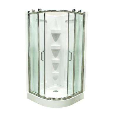 38 in. D x 38 in. W x 78 in. H Corner Shower Kit in White