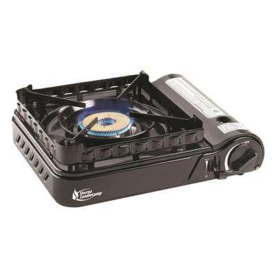 15,000-BTU Portable Butane Stove with Piezo Electronic Ignition and Wind-Block Attachment