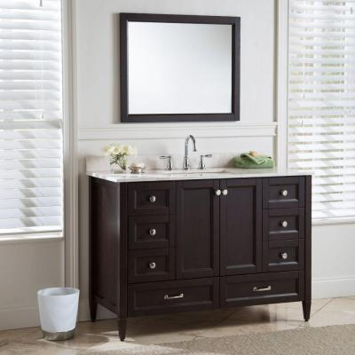 Claxby 49 in. W x 22 in. D Bathroom Vanity in Chocolate with Stone Effect Vanity Top in Dune