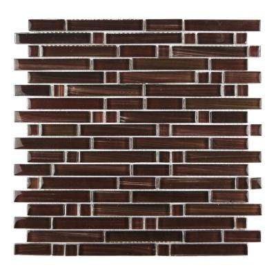 Handicraft II Maroon 12 in. x 12 in. Glass Linear Mosaic Tile