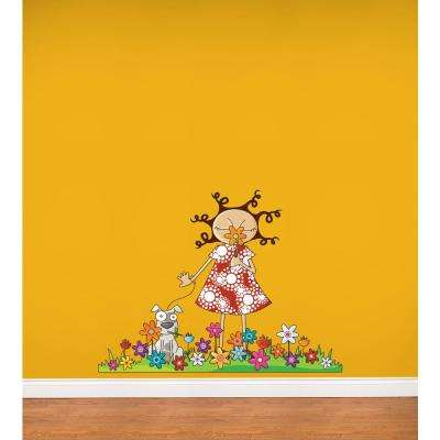 """(52 in x 40 in) Multi-Color """"Lou in flowers"""" Kids Wall Decal"""