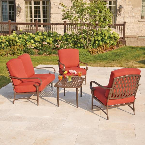 Hampton Bay Oak Cliff 4 Piece Metal Outdoor Deep Seating Set With Chili Cushions 176 411 4ds The Home Depot