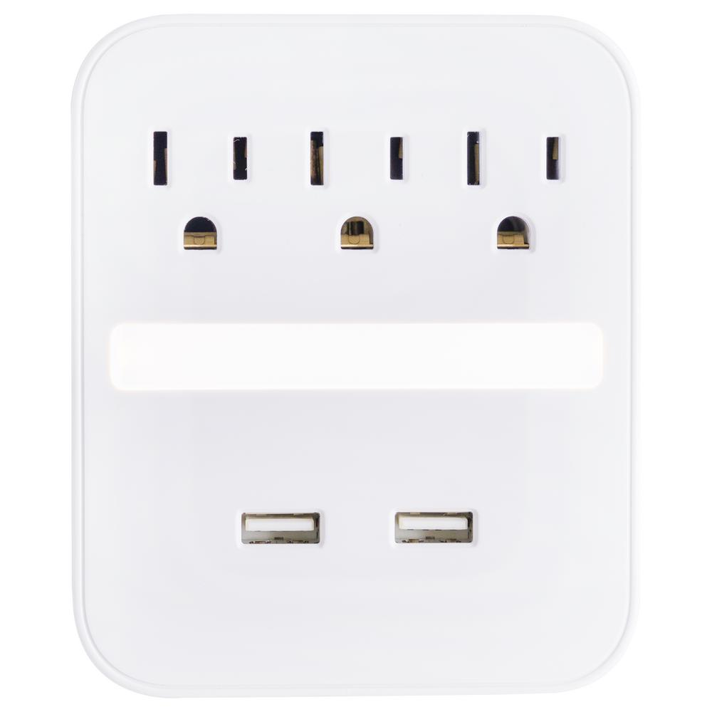 GE 3-Outlet 2-USB Port Surge Protector Wall Tap with Night Light, White