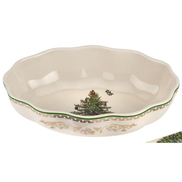 Christmas Tree 8 in. Cranberry Dish with Server (2-Piece Set)
