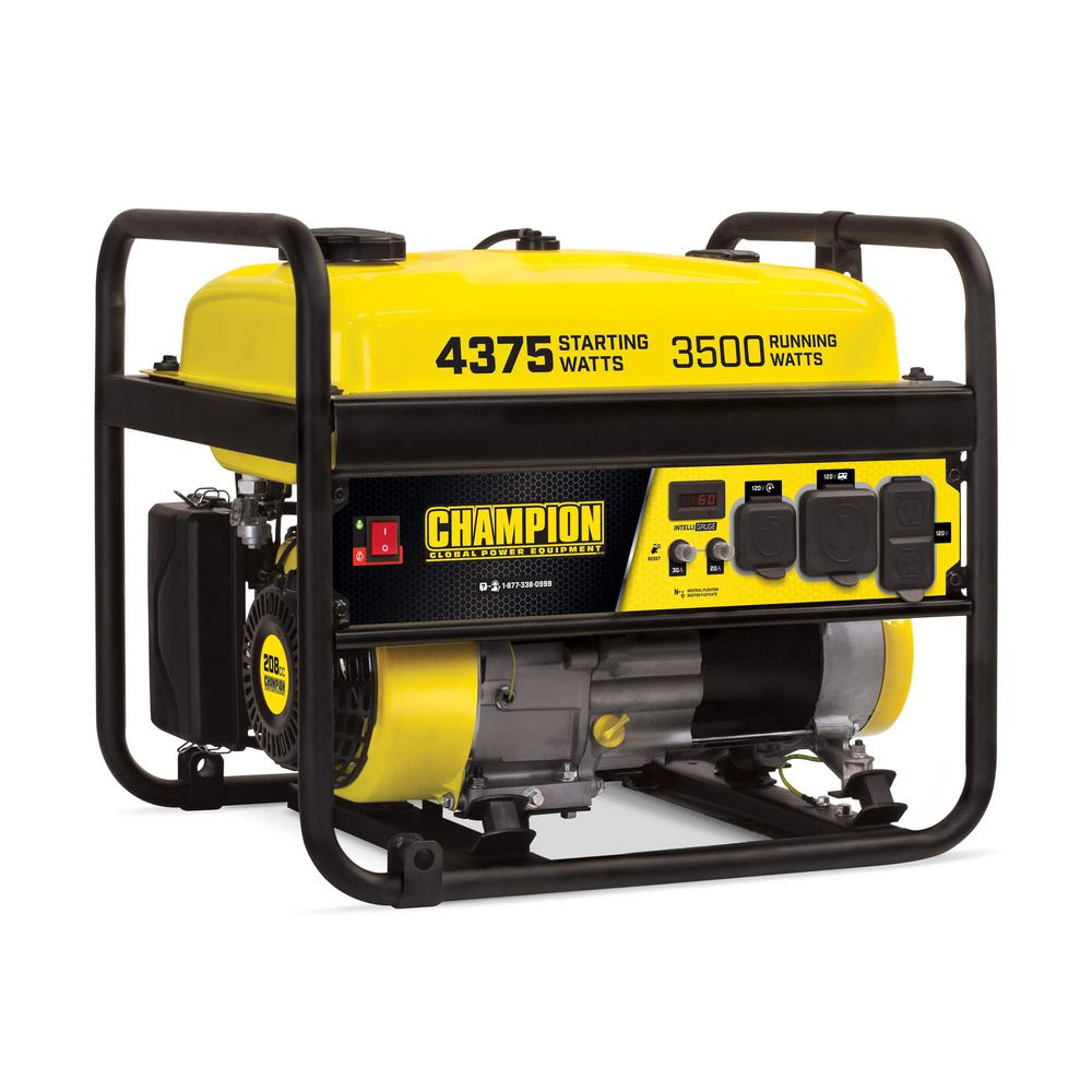 CHAMPION POWER EQUIPMENT 4375/3500-Watt Gasoline Powered RV Ready Portable  Generator (EPA)-100559 - The Home DepotThe Home Depot