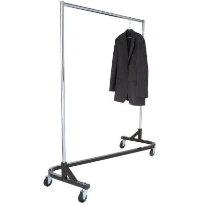 Chrome & Black Steel Clothes Rack with Wheels (61 in. W x 68 in. H)