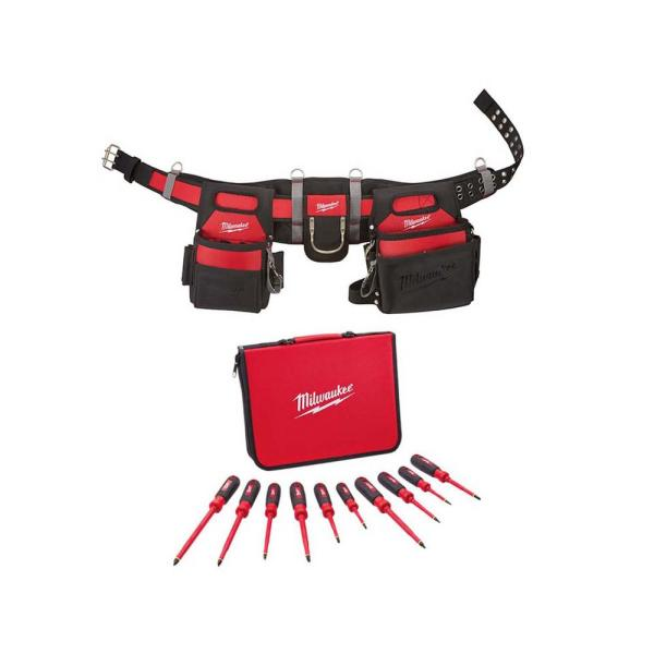 Electrician's Work Belt and 1000-Volt Insulated Screwdriver Set (10-Piece)