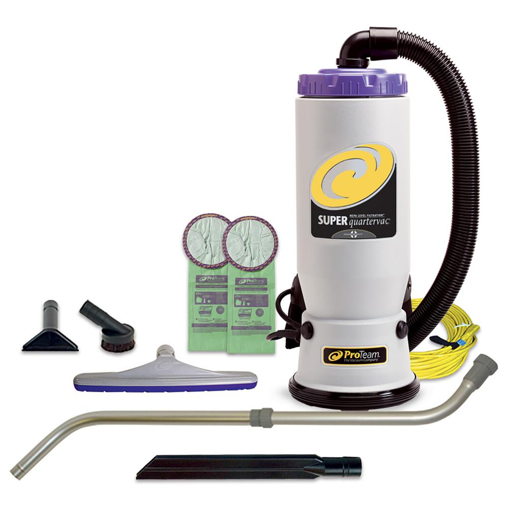 ProTeam Super QuarterVac 6 Qt. Backpack Vacuum Cleaner with Xover Multi-Surface Telescoping Wand Tool Kit