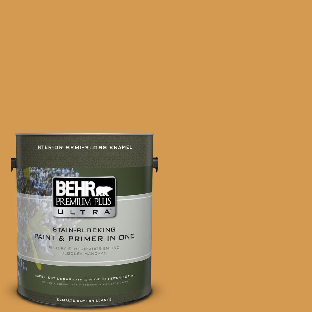 BEHR Premium Plus Ultra 1-gal. #PPU6-2 Saffron Strands Semi-Gloss Enamel Interior Paint
