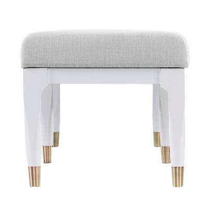 Ramsey White and Brushed Brass Mid Century Modern Upholstered Bench