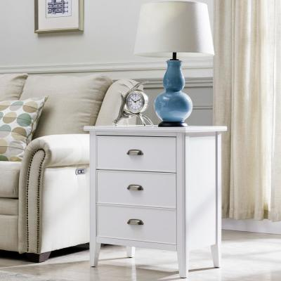 Laurent Collection Hardwood Bedroom Night Stand with Top Drawer, Door and 2-plug Electrical Outlet