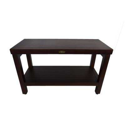 Classic 30 in. L Teak Shower Bench with Shelf