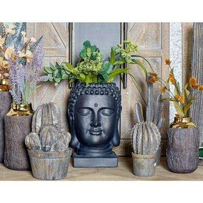 16 in. x 9 in. Black Fiber Clay Buddha Head Planter