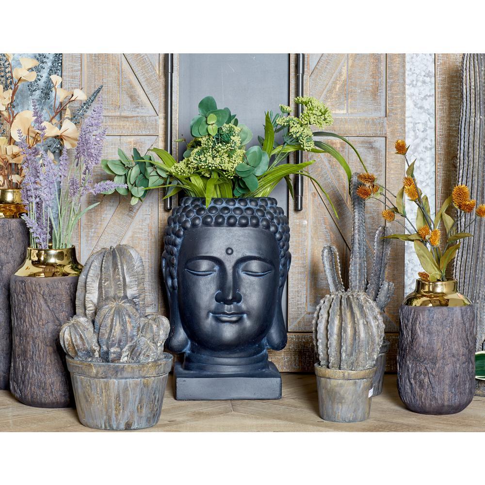 16 in. x 9 in. Black Fiber Clay Buddha Head Planter
