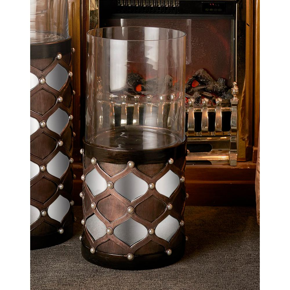 22 in. Arabesque Mirror Brown Floor Candle Holder-K-4278FS - The ...