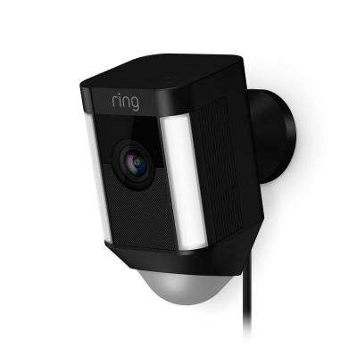 Spotlight Cam Wired Outdoor Rectangle Security Camera, Black (3-Pack)