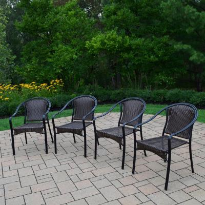 Tuscany Wicker Woven Outdoor Dining Chair (4-Pack)
