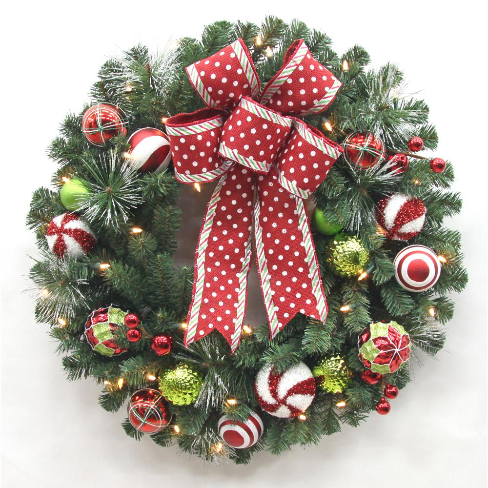 32 in. LED Pre Lit Jolly Cane Artificial Christmas Wreath with