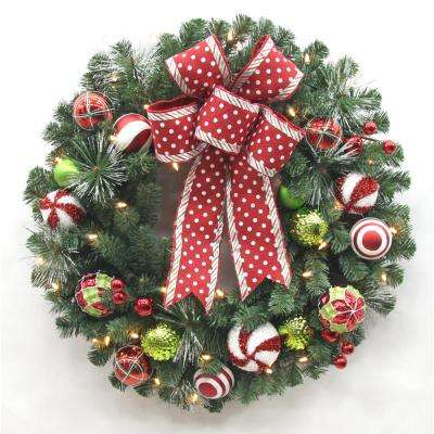 led pre lit jolly cane artificial christmas wreath with 35 warm white led - Artificial Christmas Wreaths Decorated