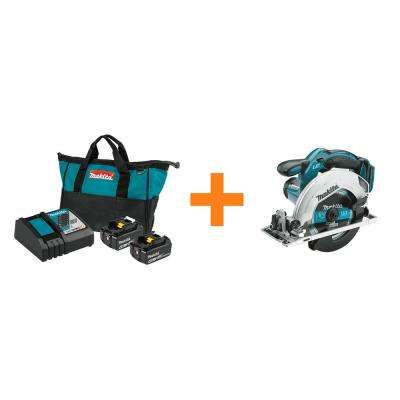 18-Volt LXT 4.0 Ah Battery and Rapid Optimum Charger Starter Pack with Bonus 18-Volt LXT 6-1/2 In. Circular Saw