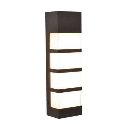 State 17 in. Textured Bronze Integrated LED Outdoor Wall Lantern Sconce