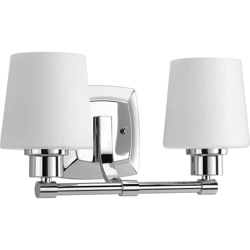 Progress Lighting Glance Collection 2 Light Polished Chrome Vanity Light With Etched Linen Glass